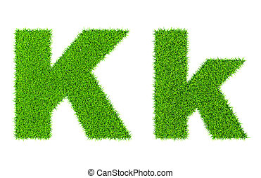 Grass letter K - ecology eco friendly concept character type