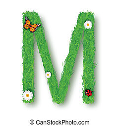 Grass Letter M on white background