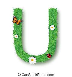 Grass Letter U on white background