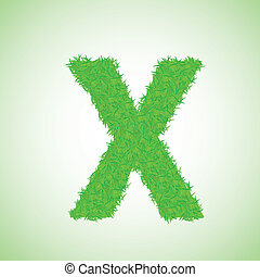 grass letter X - colorful illustration with grass letter on...