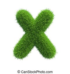 grass letter X isolated on white background
