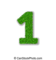 Grass number 1. Green 3D number one, isolated on white background. Green grass 1, symbol of fresh nature, plant lawn, summer. Grass texture spring font. Beautiful eco design. Vector illustration