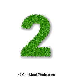 Grass number 2. Green 3D number two, isolated on white background. Green grass 2, symbol of fresh nature, plant lawn, summer. Grass texture spring font. Beautiful eco design. Vector illustration