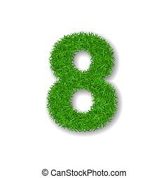 Grass number eight. Green 3D number 8, isolated on white background. Green grass eight, symbol of fresh nature, plant lawn, summer. Grass texture spring font. Beautiful eco design. Vector illustration