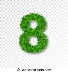 Grass number eight. Green number 8, isolated on white transparent background. Green grass eight, fresh symbol of nature, plant lawn, summer. Grass texture spring font. Eco design. Vector illustration