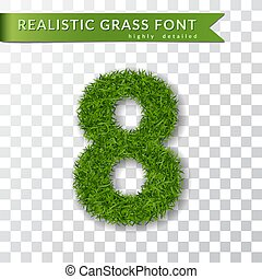 Grass number eight. Green number 8 isolated white transparent background. Green grass 3D eight, fresh symbol of nature, plant lawn, summer. Grass texture spring font. Eco design. Vector illustration