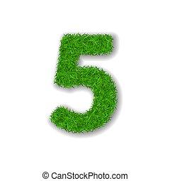 Grass number five. Green 3D number five, isolated on white background. Green grass 5, symbol of fresh nature, plant lawn, summer. Grass texture spring font. Beautiful eco design. Vector illustration