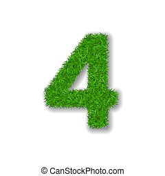 Grass number four. Green 3D number four, isolated on white background. Green grass 4, symbol of fresh nature, plant lawn, summer. Grass texture spring font. Beautiful eco design. Vector illustration