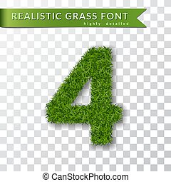 Grass number four. Green number four, isolated on white transparent background. Green grass 3D 4, fresh symbol of nature, plant lawn, summer. Grass texture spring font. Eco design. Vector illustration