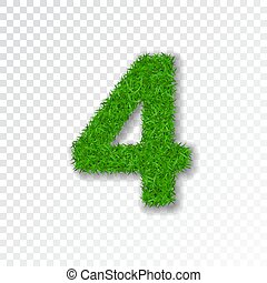 Grass number four. Green number four, isolated on white transparent background. Green grass 4, fresh symbol nature, lawn, summer. Grass texture spring font. Beautiful eco design. Vector illustration