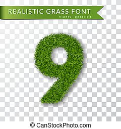 Grass number nine. Green number 9, isolated on white transparent background. Green grass 3D nine, fresh symbol of nature, plant lawn, summer. Grass texture spring font. Eco design. Vector illustration