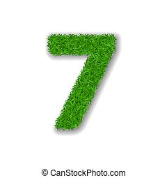 Grass number seven. Green 3D number 7, isolated on white background. Green grass seven, symbol of fresh nature, plant lawn, summer. Grass texture spring font. Beautiful eco design. Vector illustration