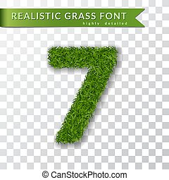 Grass number seven. Green number 7, isolated on white transparent background. Green grass 3D seven, fresh symbol nature, plant lawn, summer. Grass texture spring font. Eco design. Vector illustration