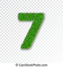 Grass number seven. Green number 7, isolated on white transparent background. Green grass seven, fresh symbol of nature, plant lawn, summer. Grass texture spring font. Eco design. Vector illustration