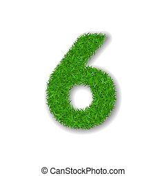 Grass number six. Green 3D number six, isolated on white background. Green grass 6, symbol of fresh nature, plant lawn, summer. Grass texture spring font. Beautiful eco design. Vector illustration