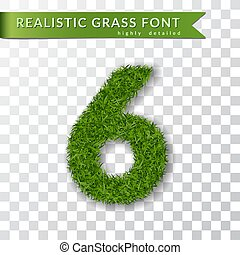 Grass number six. Green number six, isolated on white transparent background. Green grass 3D 6, fresh symbol of nature, plant lawn, summer. Grass texture spring font. Eco design. Vector illustration