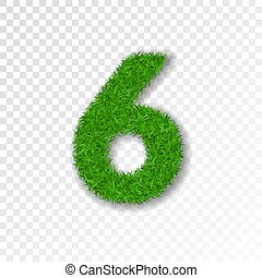 Grass number six. Green number six, isolated on white transparent background. Green grass 6, fresh symbol of nature, plant lawn, summer. Grass texture font. Beautiful eco design. Vector illustration