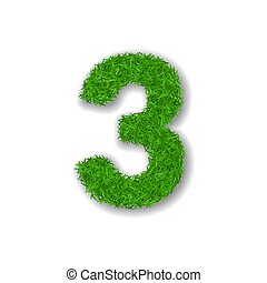 Grass number three. Green 3D number three isolated on white background. Green grass 3, symbol of fresh nature, plant lawn, summer. Grass texture spring font. Beautiful eco design. Vector illustration