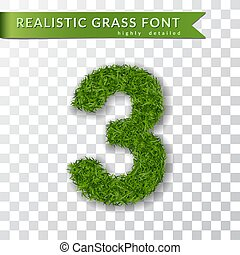 Grass number three. Green number three isolated on white transparent background. Green grass 3D 3, fresh symbol of nature, plant lawn, summer. Grass texture spring font. Eco design. Vector illustration