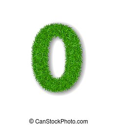 Grass number zero. Green number 0, isolated on white background. Green grass 3D zero, symbol of fresh nature, plant lawn, summer. Grass texture spring font. Beautiful eco design. Vector illustration