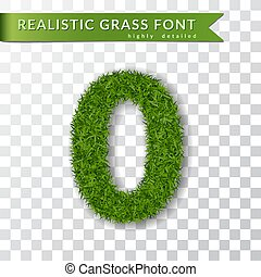 Grass number zero. Green number 0, isolated on white transparent background. Green grass 3D zero, fresh symbol of nature, plant lawn, summer. Grass texture spring font. Eco design. Vector illustration