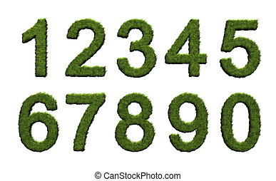 Grass numbers - 3D rendered image of grass numbers on white...