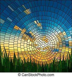grass., ocaso, mosaico