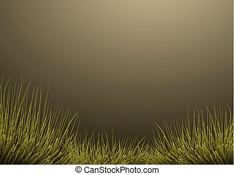 Grass on dark green background