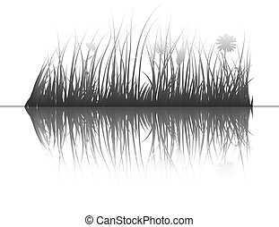 grass on water - Vector grass silhouettes background with ...