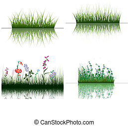 grass on water - Vector grass silhouettes backgrounds set ...