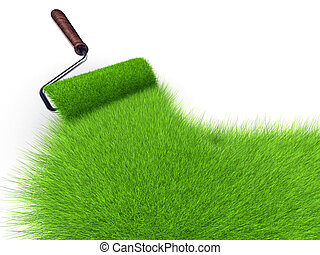 Grass paint - Paint roller painting with grass - 3d render