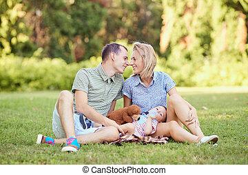 grass., parque, família, feliz