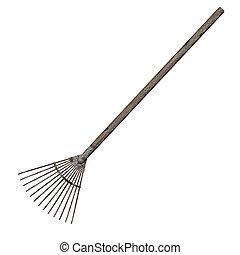 Grass Rake - 3D digital render of an old grass rake isolated...