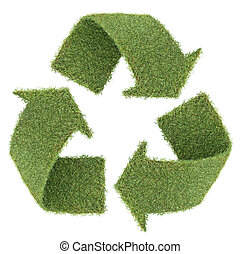 recycle symbol form by real green grass