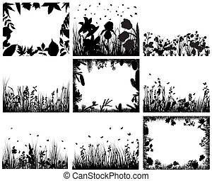grass set - Set of vector grass silhouettes backgrounds for ...