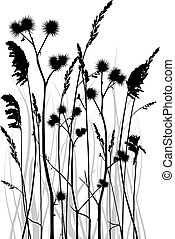 Grass silhouette - Gray scale vector silhouette of grass...
