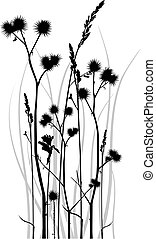 Grass silhouette - Gray scale vector silhouette of grass ...