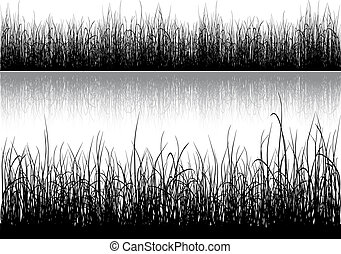 Grass silhouette isolated on white