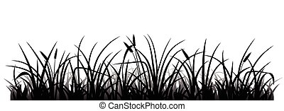 Grass silhouette - Meadow grass silhouette, vector ...