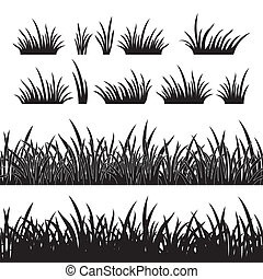 Grass silhouette, seamless - Line seamless and set of grass,...