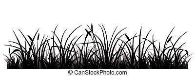 Grass silhouette - Meadow grass silhouette, vector...