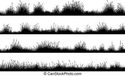 grass., silhouettes, pré