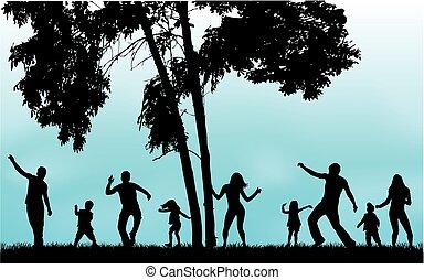 grass., silueta, tocando, família