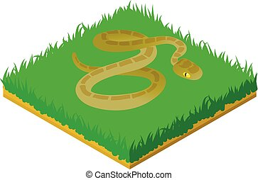 Grass snake icon, isometric style