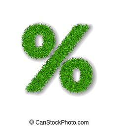 Grass symbol percent. Green percent, isolated on white background. Green grass 3D percent, symbol of fresh nature, lawn, summer. Grass texture spring font. Beautiful eco design. Vector illustration