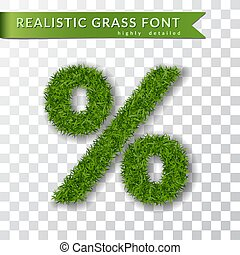 Grass symbol percent. Green percent, isolated on white transparent background. Green grass 3D percent, fresh symbol of nature, lawn, summer. Grass texture. Beautiful eco design. Vector illustration
