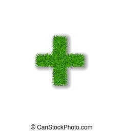 Grass symbol plus. Green plus, isolated on white background. Green grass 3D plus, symbol of fresh nature, plant lawn, summer. Grass texture spring font. Beautiful eco design. Vector illustration