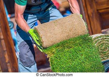 Grass Turfs Garden Work