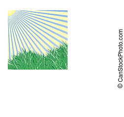 Grass under the blue sky and sun rays vector background