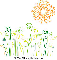 grass, vector - sun and grass with swirls, vector background